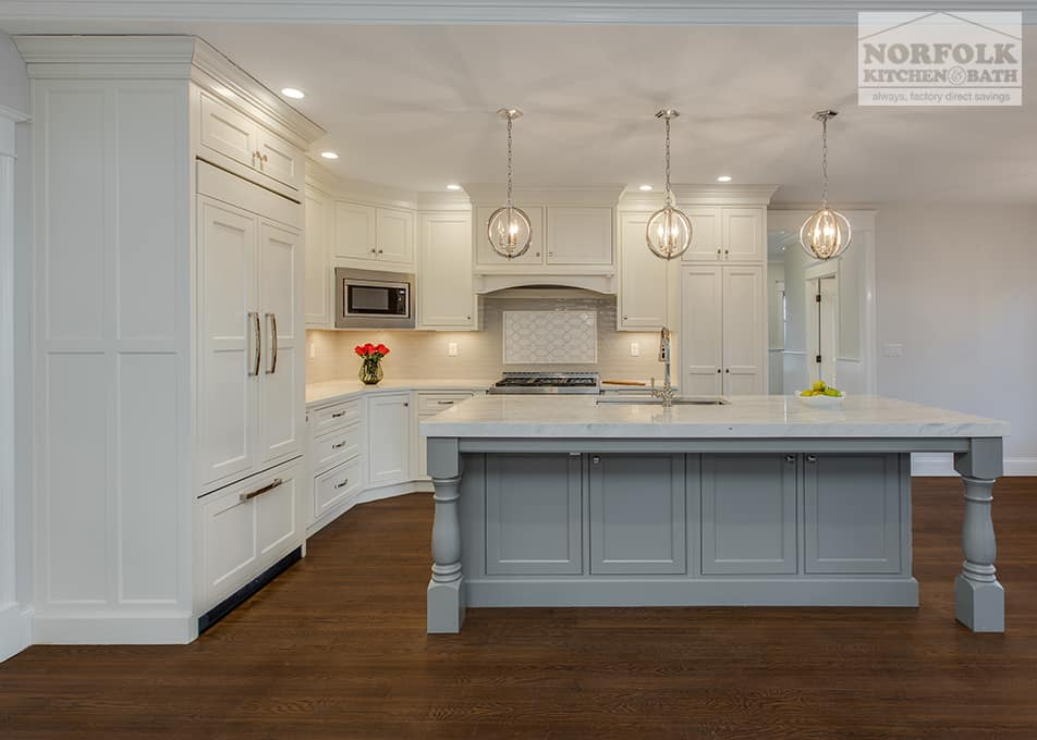 gray and white kitchen remodel with island
