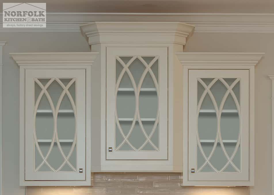 white kitchen cabinets with gothic windows
