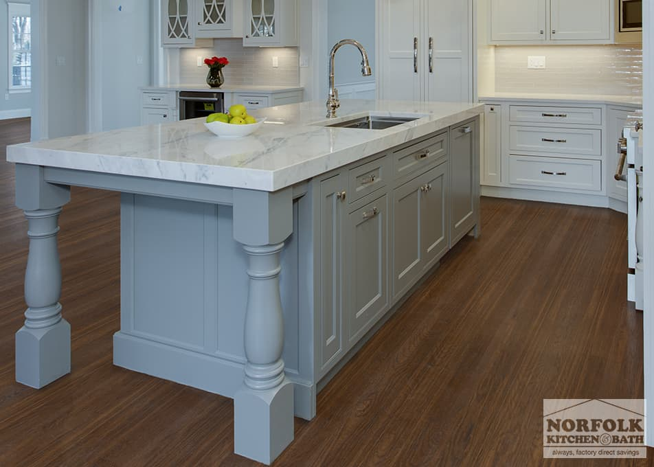 gray kitchen island with furniture posts