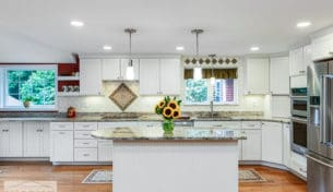 Transitional White Kitchen with Italian Tile