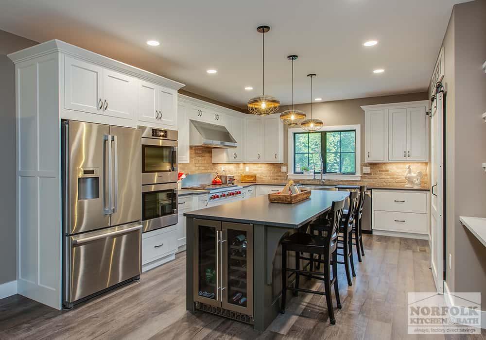 farmhouse white kitchen with island