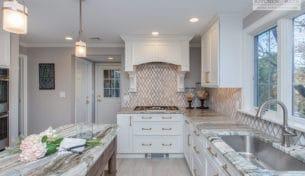 White Showplace Kitchen With Custom Island