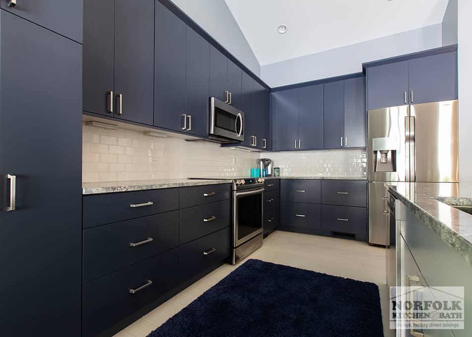 Blue Kitchen With Accent Island | Norfolk Kitchen & Bath