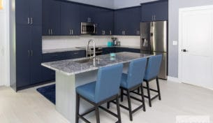 Blue Kitchen With Accent Island