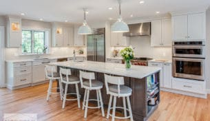 Extra Large White Kitchen With Accent Island