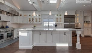 White Inset Kitchen With Oversized Island