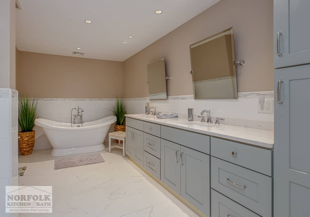 large vanity with two sinks and soaking tub customer photo