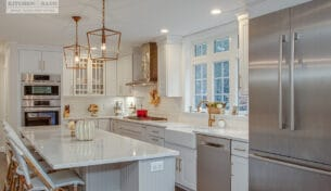 White Shaker Kitchen With Gold Accents