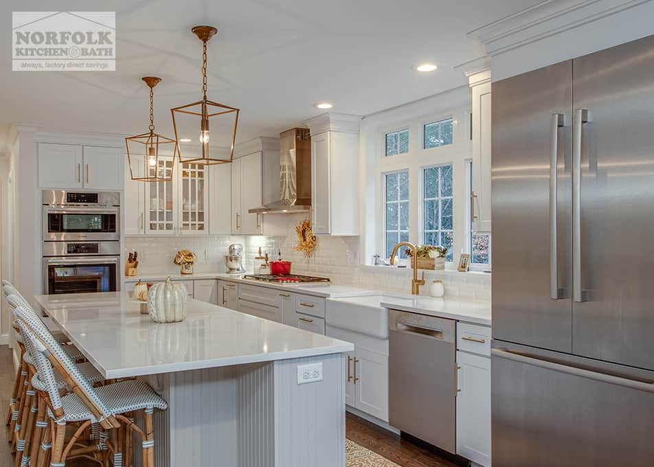 White Shaker Kitchen With Gold Accents Norfolk Kitchen