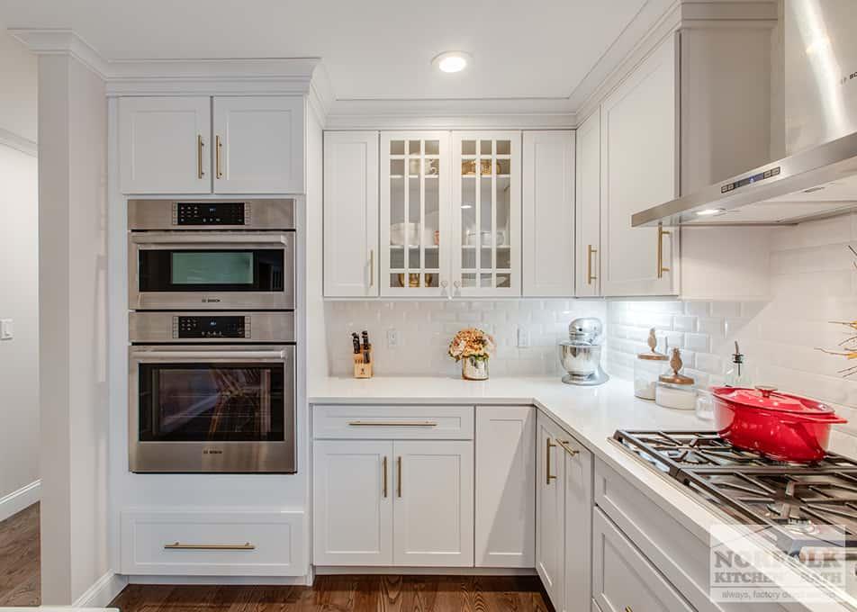 White Shaker Kitchen With Gold Accents Norfolk Kitchen Bath