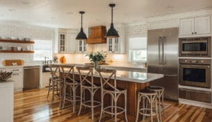 Custom Farmhouse Kitchen With Wood Accents