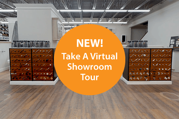 Photo of Boston showroom with button for virtual tour