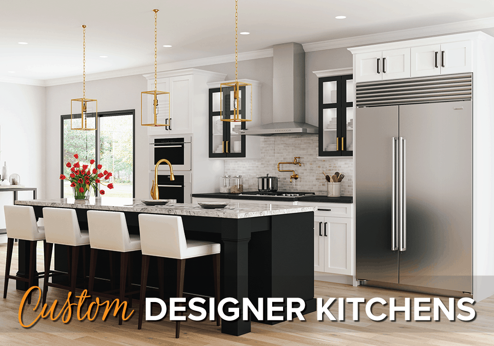 a custom black and white kitchen with an oversized island and the words