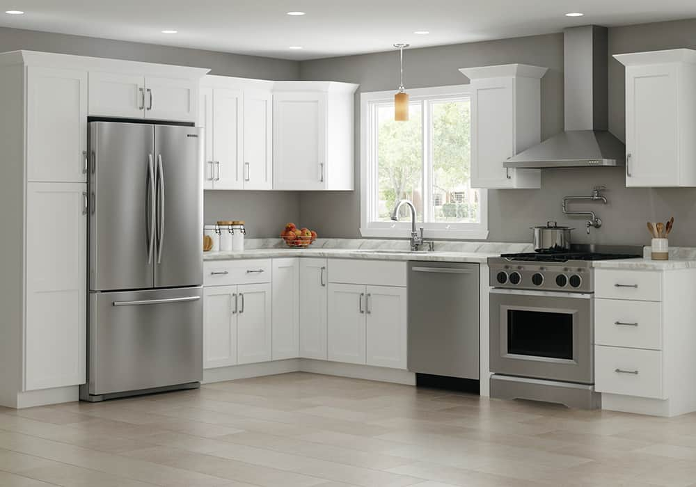 a 10x10' kitchen with white in-stock kitchen cabinets - Advanta Trevant