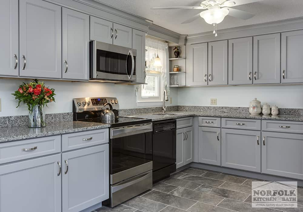 light grey kitchen with stainless appliances