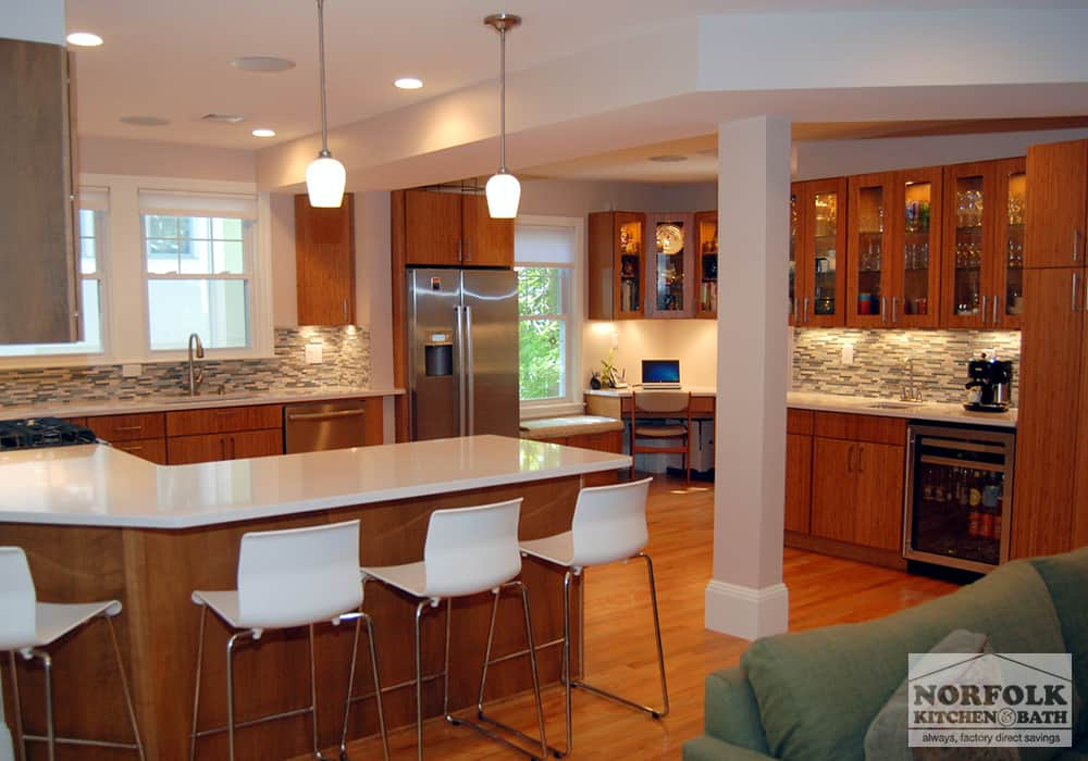 brown wood kitchen cabinets with contemporary white stools customer photo