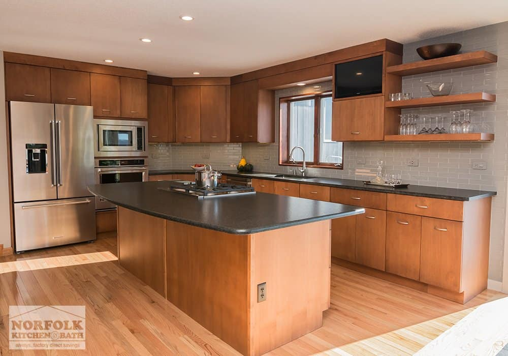 light cherry kitchen with island and open shelves