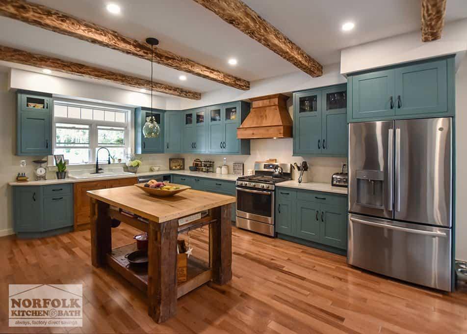Teal Farmhouse Kitchen With Wood Accents Norfolk Kitchen Bath