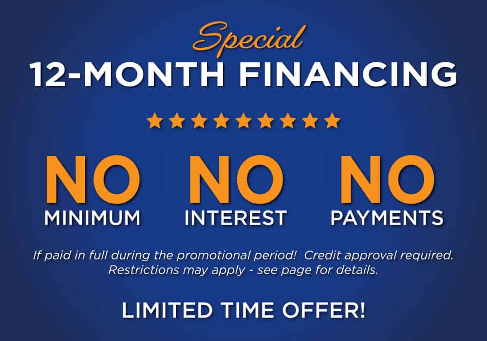Special 12-month financing graphic with text that says