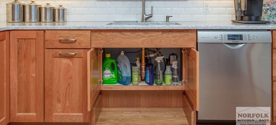 an ADA kitchen design with storage underneath the kitchen sink