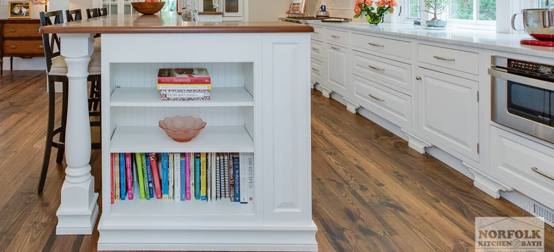 white kitchen cabinets with a bookshelf cabinet upgrade and furniture post on the kitchen island