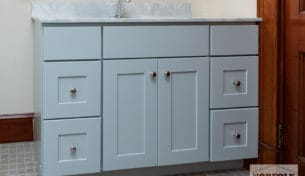 Gray Bath Vanity With Faux Marble Top