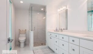 White Bathroom Remodels in Waltham, MA