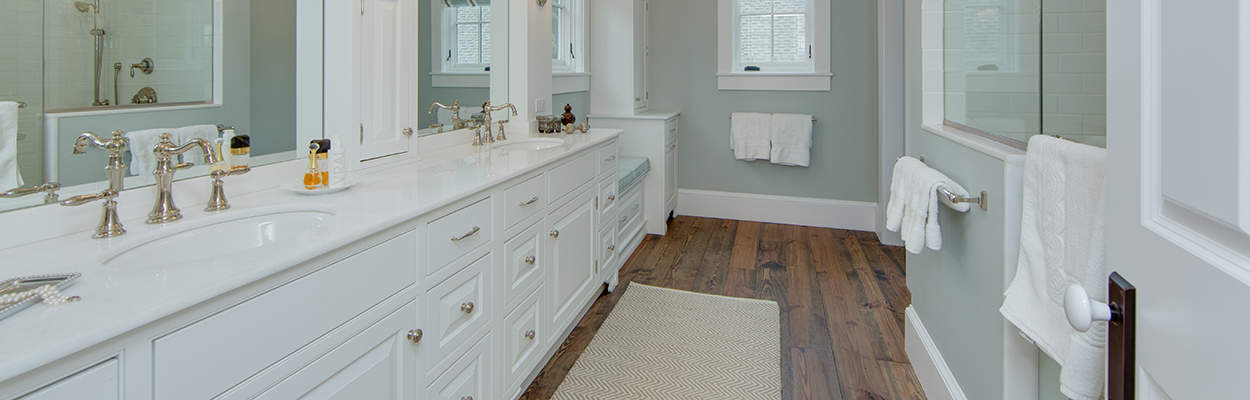 double custom bath cabinet with inset doors