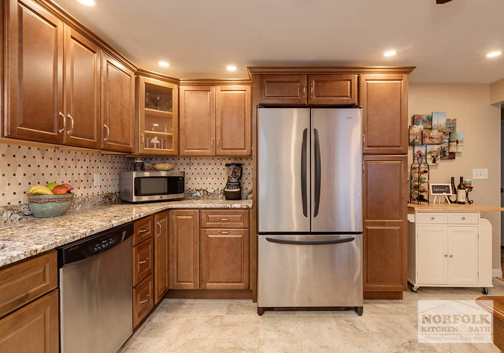 JSI Quincy Brown kitchen with granite countertops