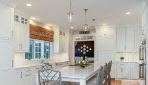 U-Shaped Inset White Kitchen in Natick, MA