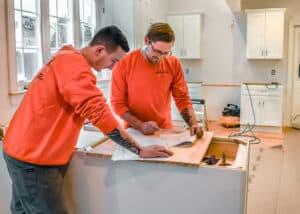Norfolk kitchen remodelers in an unfinished white kitchen