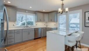 Grey Kitchen with Island in Nashua, NH