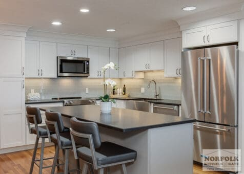 white kitchen remodel in Quincy, MA