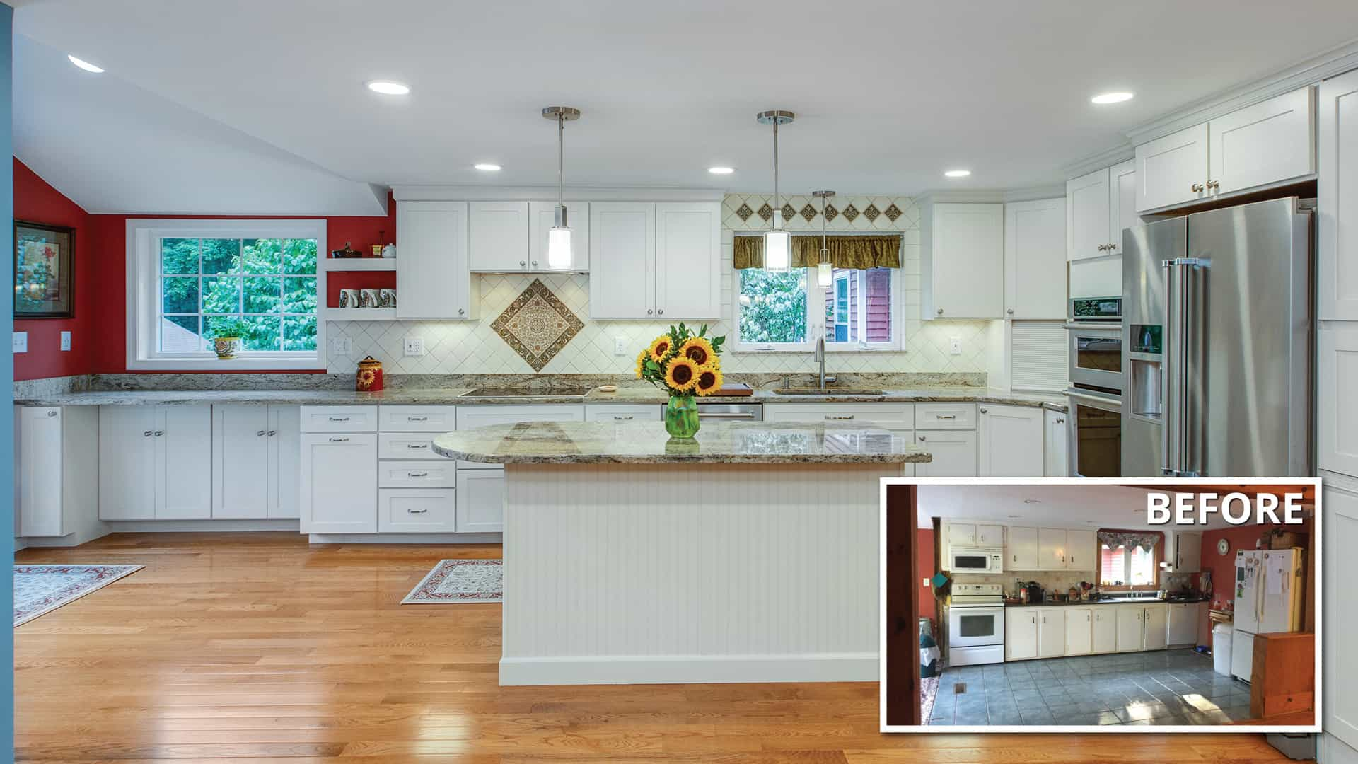 before and after kitchen remodel in Londonderry, NH