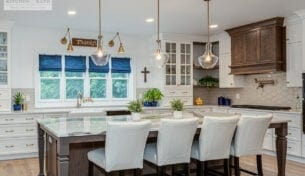 White Kitchen With Oak Accents - Wilmington, MA