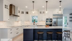 Blue & White Inset Kitchen In Winchester, MA