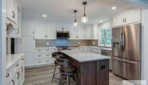 White Kitchen With Island - Franklin, MA