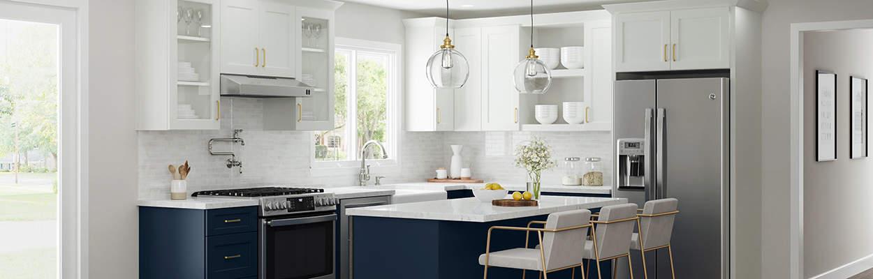 custom blue and white kitchen design with quartz countertops and a kitchen island