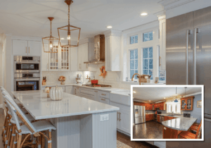 a major kitchen remodel with white kitchen cabinets and stone countertops