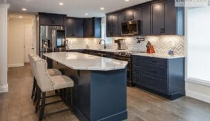 Blue Kitchen Cabinets With Quartz Countertops - Hudson, NH