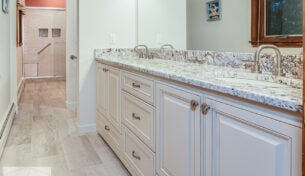 Antique White Bath Remodel - Framingham, MA